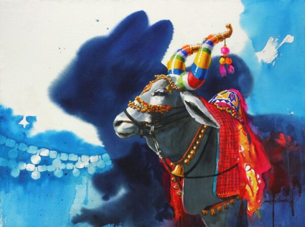 lord shiva paintings-The Nandi (Part XIV) | Water Color Painting by Mohan S. Jadhav | 21x29