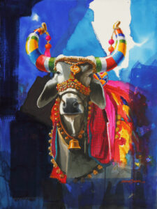 The Nandi (Part XV) | Water Color Painting by Mohan S. Jadhav | 21x29