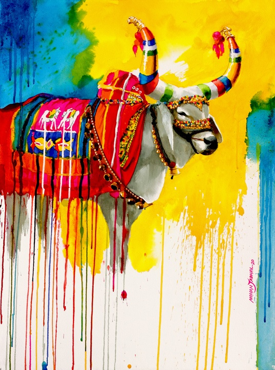 The Nandi (Part XVI) | Water Color Painting by Mohan S. Jadhav | 21x29
