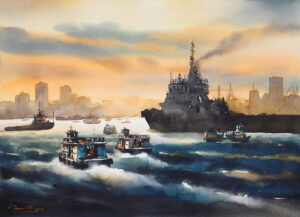 Mumbai Arabian Sea | Watercolor Painting by Ananta Mandal | 22×30