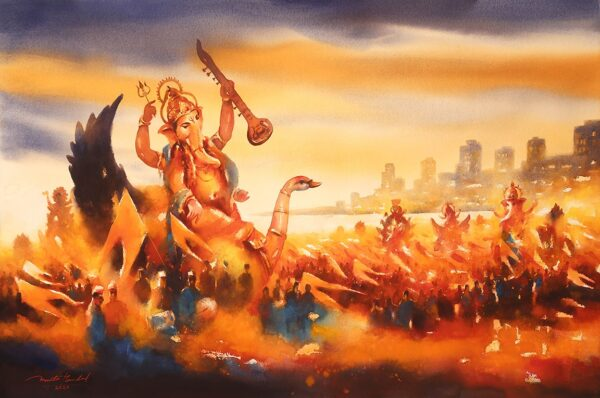 Mumbai Ganpati Festival | Watercolor Painting by Ananta Mandal | 30×45