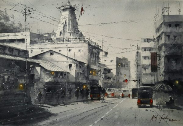 Old Temple   Water Color Painting By Atul Gendle