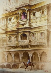 Patwa Haveli | Watercolor Painting by Kishor S. Nadavdekar | 19×13