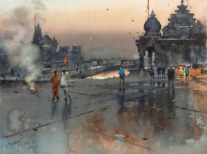 Morning Moment at Nasikghat   Water Color Painting By Prafful B. Sawant