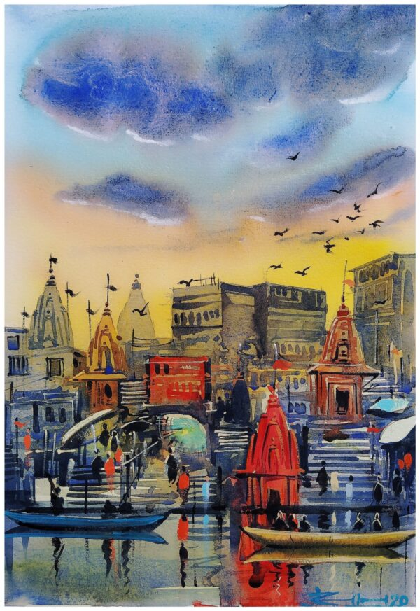 Sham-E-Banaras (Vol I) | Watercolor Painting by Ranjeet Singh | 8×11