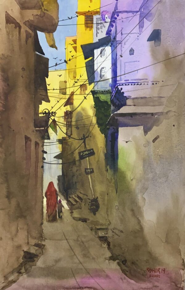 shade-yellow-watercolor-painting-by-kishor-s-nadavdekar