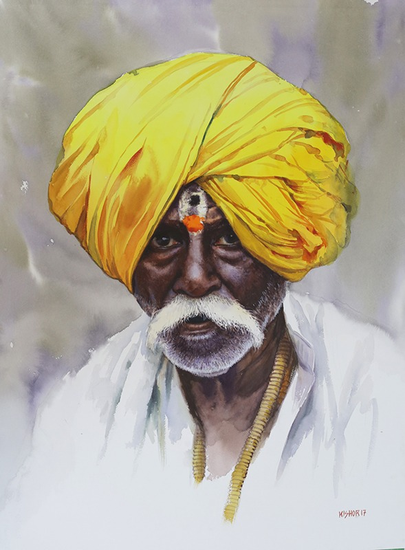 Old Beauty | Watercolor Painting by Kishor S. Nadavdekar | 22×28