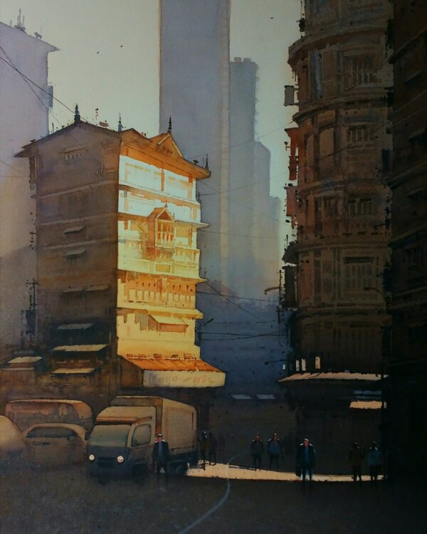 sunday-morning-watercolor-painting-by-nanasaheb-b-yeole