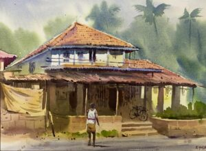 village-vol-ii-watercolor-painting-by-kishor-s-nadavdekar