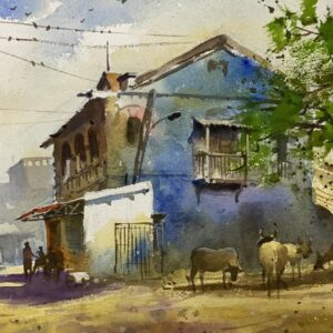 village-vol-iii-watercolor-painting-by-kishor-s-nadavdekar