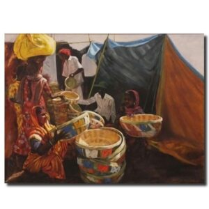 Basket Seller Lady | Oil On Canvas by Rajendra Dagade | 30×48