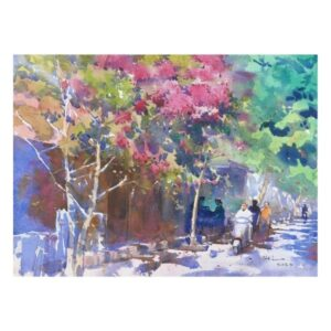 street-of-flower-watercolor-painting-by-abel-28x38-cm
