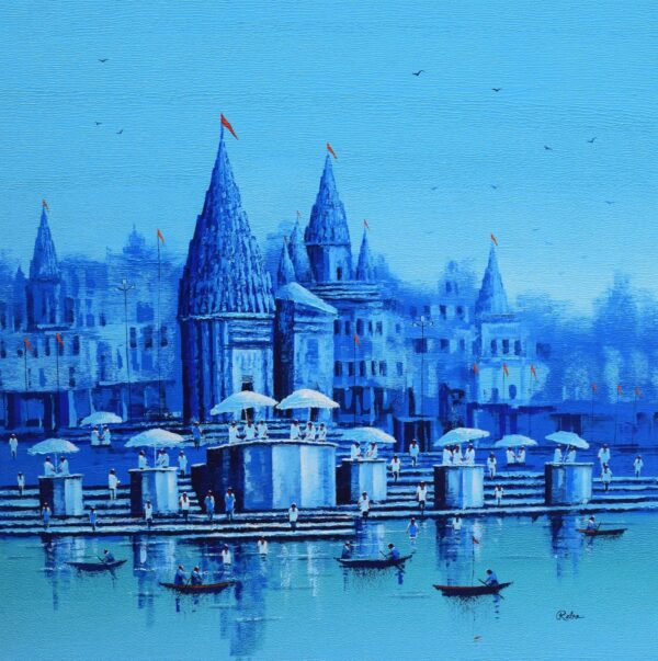 banaras-ghat-acrylic-on-canvas-painting-by-reba-mandal-36x36