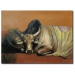 cow-with-gramophone-acrylic-on-canvas-by-jiban-biswas-36x48