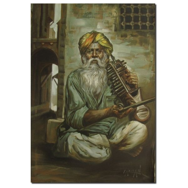 Musicians Paintings - Cultural Art For Sale musician-2-oil-on-canvas-painting-by-laxman-kumar-30x40
