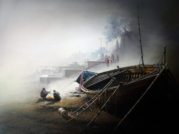 Banaras Ghat Morning | Oil On Canvas Painting by Amit Bhar | 32×24