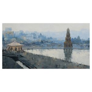 ganga-ghat-oil-painting-by-amit-dhane-24x42