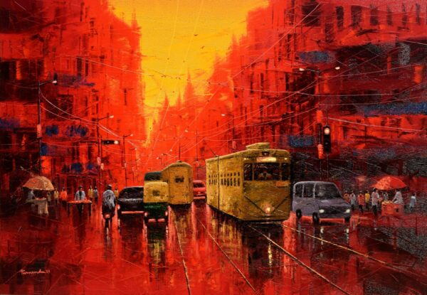first-light-in-kolkata-oil-on-canvas-painting-by-by-purnendu-mandal-42x60