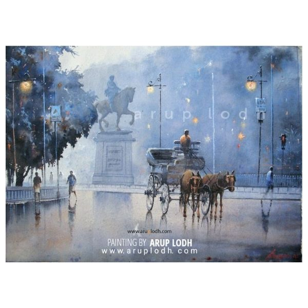 An early winter morning in Kolkata | Watercolor Painting by Arup Lodh | 29x22