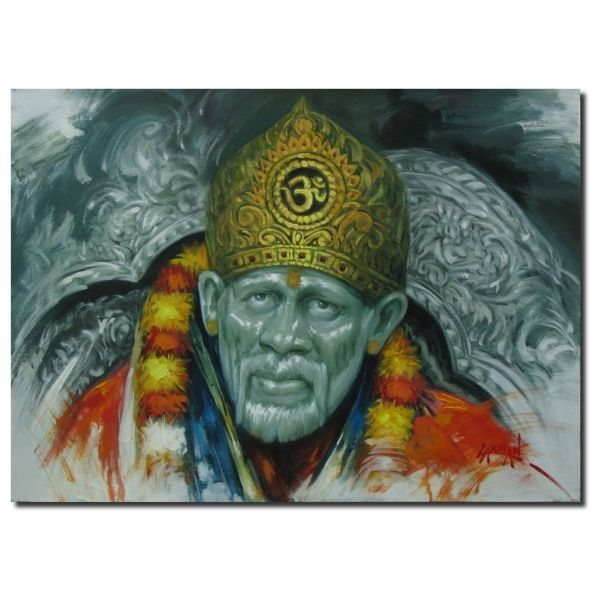 beautiful-sai-baba-paintings-for-sale-sai-baba-oil-on-canvas-painting-by-laxman-kumar-30x40