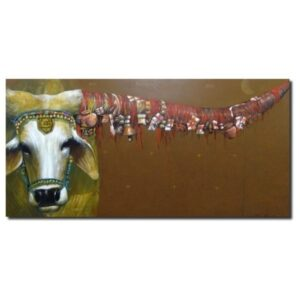 religious-beliefs-big-horns-acrylic-on-canvas-by-jiban-biswas-3x6