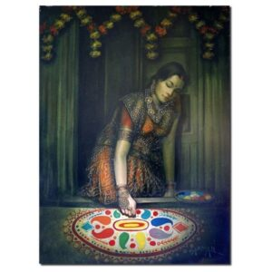 rangoli-oil-on-canvas-painting-by-laxman-kumar-33x45