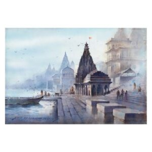 banaras-ghat-watercolor-painting-by-amit-dhane-15x22
