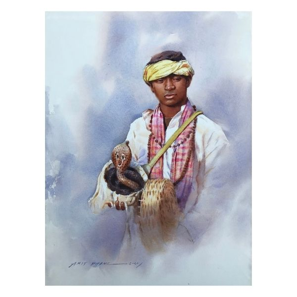 a-young-snake-charmer-watercolor-painting-by-amit-dhane-15x22