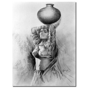 village-girl-2-charcoal-on-mountboard-painting-by-laxman-kumar-15x20