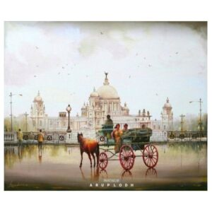 A Wet Day In Kolkata | Acrylic Painting by Arup Lodh | 36x36