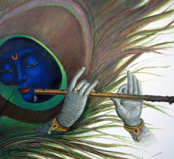Krishna With His Flute | Oil Painting by Hari Om Singh | 18x18