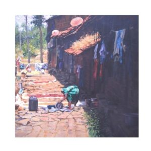 village-view-oil-on-canvas-by-ramdas-lobhi-24x24