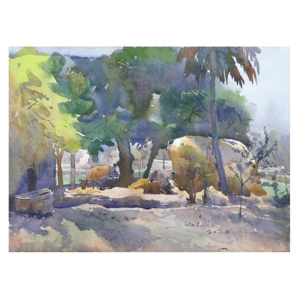Pleasant Village Life | Watercolor Painting by Abel | 28x38 cm