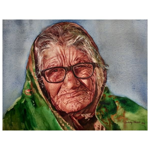 OLD LADY 15X11 inches Watercolor on paper