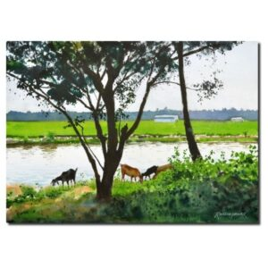 grazing-by-the-pond-watercolor-painting-by-ramesh-jhawar-10x14