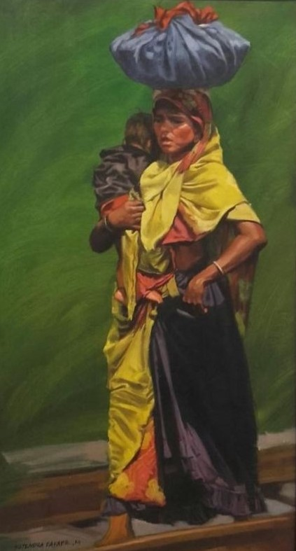 lady-in-yellow-oil-on-canvas-by-rajendra-dagade-22x40