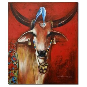 devotional-cows-2-acrylic-on-canvas-by-jiban-biswas-36x30