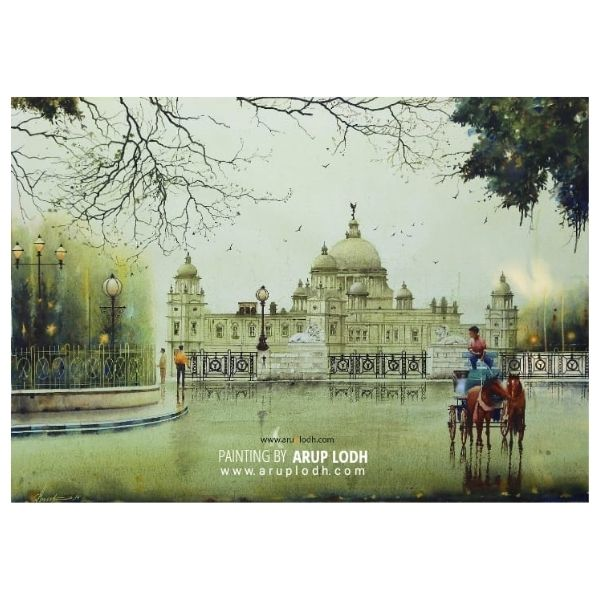 A Wet Afternoon in Kolkata | Watercolor Painting by Arup Lodh | 29x43