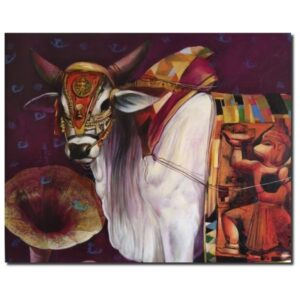 cow-with-gramophone-2-acrylic-on-canvas-by-jiban-biswas-36x48