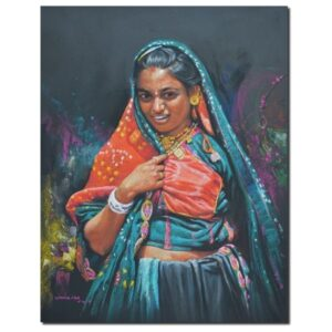 lady-pastel-on-canvas-painting-by-ramdas-lobhi-24x19