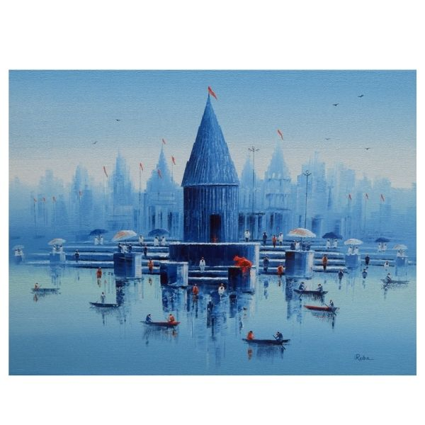 banaras-ghat-oil-on-canvas-painting-by-reba-mandal-36x48