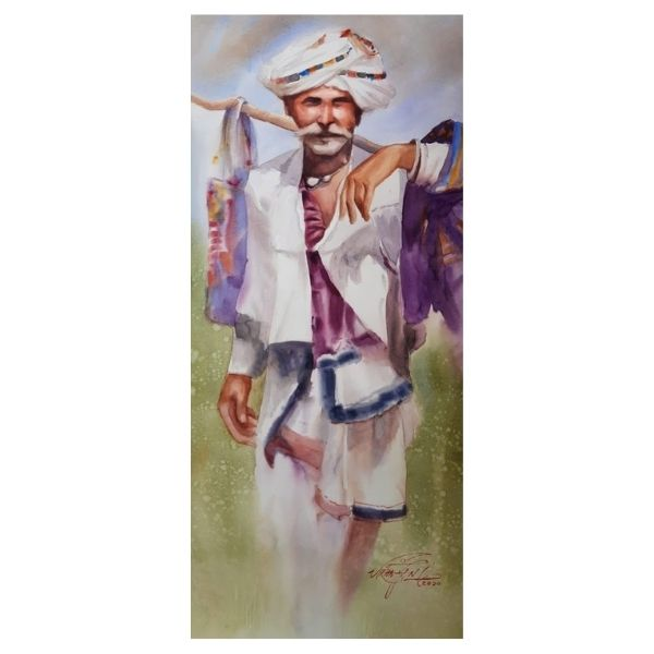 Watercolor On Canvas Painting by Ram Viranjan | 22 x44