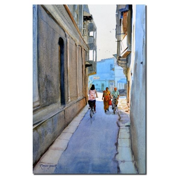 riding-through-the-bylanes-watercolor-painting-by-ramesh-jhawar-21x14