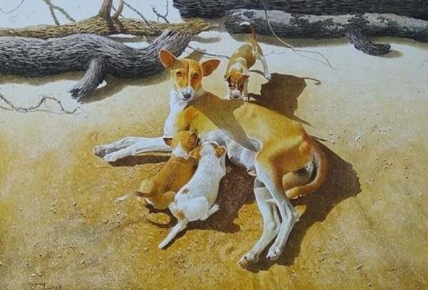 Dog and Puppies 4-watercolor-painting-by-raghunath-sahoo-22x28