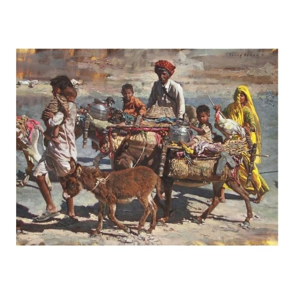 kith-and-kin-on-the-move-oil-on-canvas-painting-by-parag-borse-36x48
