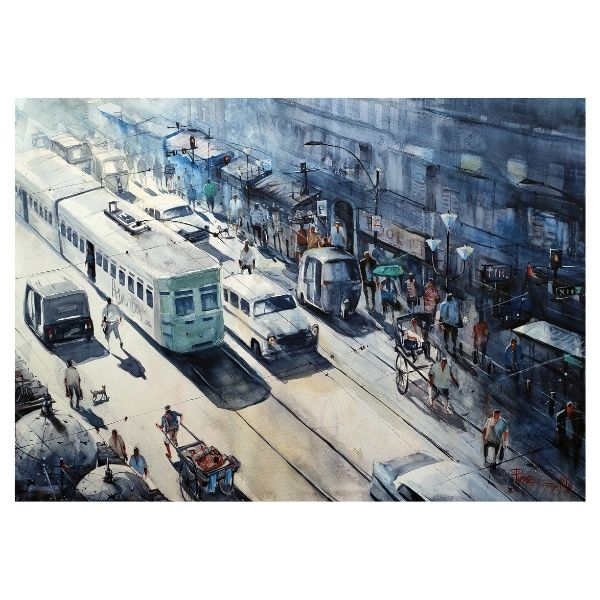 oldest-lifeline-of-kolkata-watercolor-on-paper-painting-by-pintu-sengupta-22x30