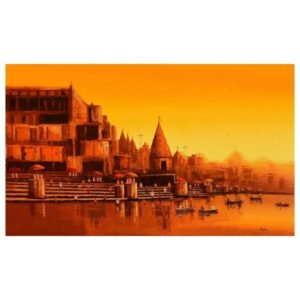 banaras-ghat-acrylic-on-canvas-painting-by-reba-mandal-36x60