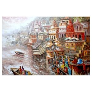 Ganges 35 | Acrylic Painting by Sanjay Chakraborty | 48×72