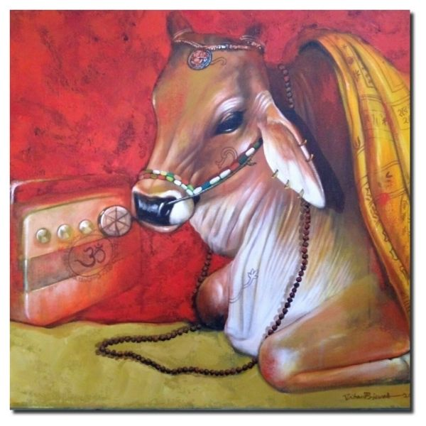 devotional-cows-3-acrylic-on-canvas-by-jiban-biswas-30x36