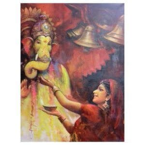 the-ganesha-devotion-acrylic-on-canvas-painting-by-ranjit-sarkars-36x48